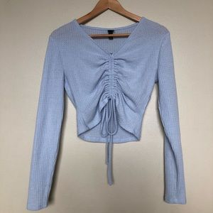 NWT Light Blue Ruched Crop Top, S || Wild Fable